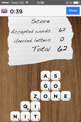 An example game round in Wordout